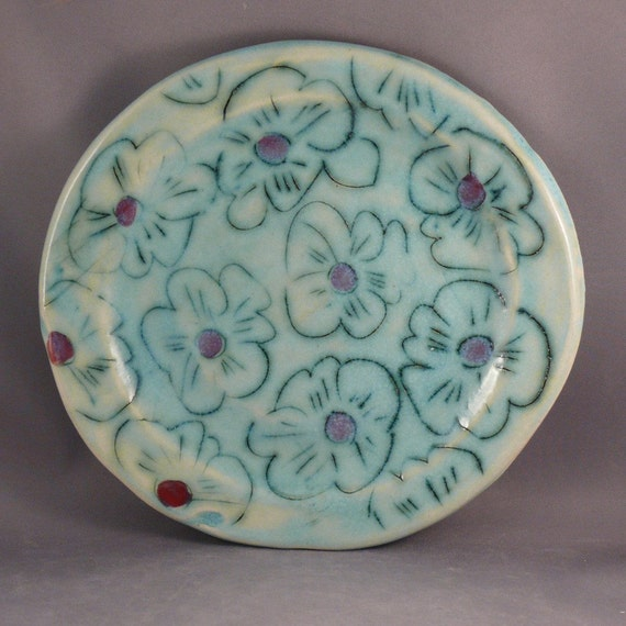 Handmade Plate covered wtih poppies