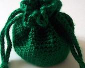 Crochet Drawstring Bag Green Pouch On Etsy
