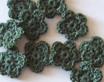 Mini Crochet Flowers Appliques, 10 Olive Green Embellishment Embellishment, Scrapbooking On Etsy