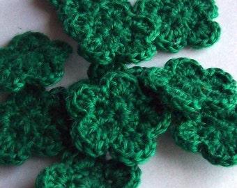 Mini Crochet Flower Applique, 10 Green Embellishment Embellishment, Scrapbooking On Etsy