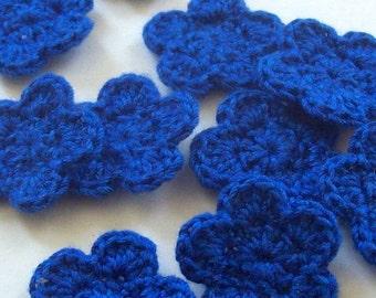 Mini Crochet Flower Appliques, 10 Blue Embellishment Embellishment, Scrapbooking On Etsy