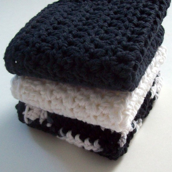 On Etsy Cotton Crochet Dishcloth/Washcloths Black and White (Set of 3)- Cleaning Bathroom Kitchen