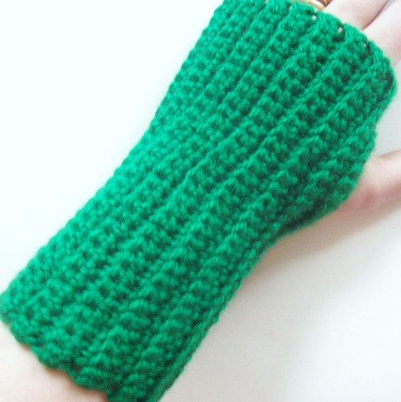 On Etsy Fingerless Gloves Green Crochet- Warm Accessories Winter, Wrist Warmers, Arm Warmers
