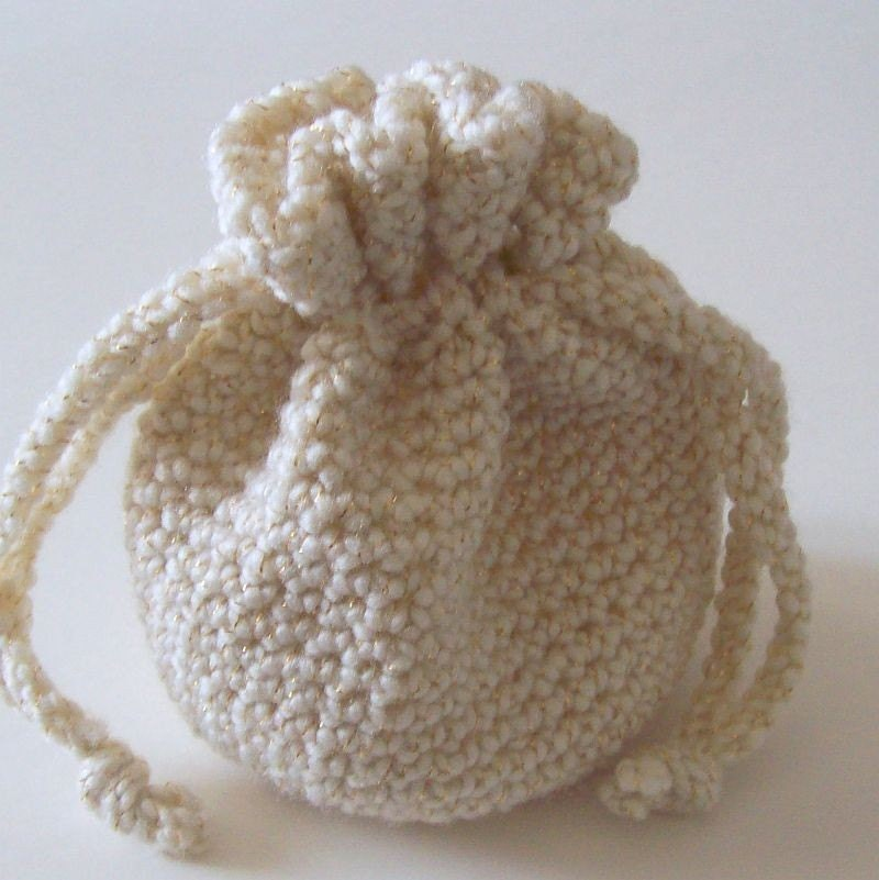Crochet Drawstring Pouch Pattern : Crochet Drawstring Bag Off-White and gold