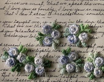 Blue rosebud appliques