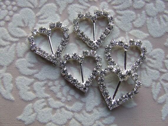 Petite Heart Rhinestone Buckles (package of 2)