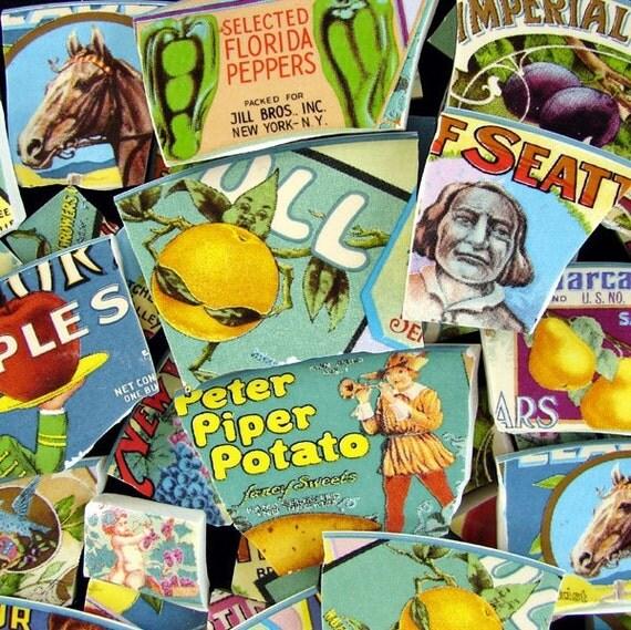 China Mosaic Tiles Vintage Retro Kitsch Labels People Animals Food FUN  ... ESST ... Oh Faro