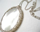 Netted Pearl Pendant - Silver