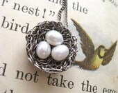 bird nest necklace, oxidized silver, 3 freshwater pearl eggs