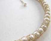 Trapped pearl necklace, goldfill
