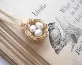 little bird's nest necklace...goldfill, 3 pearl eggs