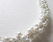 budding necklace...silver and white pearls