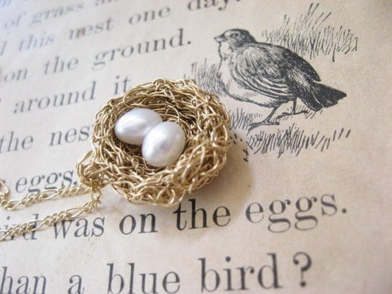 bird nest necklace, gold fill with 2 pearl eggs