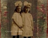 sisters, original digital collage ephemera altered art vintage photo digital collage sheets digital print supplies