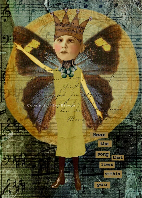 Original digital collage ephemera altered art vintage photo collage sheets print supplies whimsy dreams steam punk inspirational