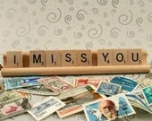 I MISS YOU Scrabble Letters Sign Recycled