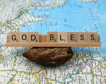 GOD BLESS Scrabble Letters Sign RECYCLED