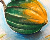 Acorn Squash Autumn Harvest Original 5 x 5 Painting