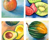 Foodie Notecards 4 Art Prints and Envelopes