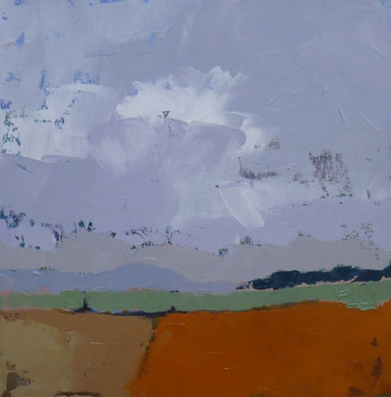 Abstract landscape oil painting, Fading Summer