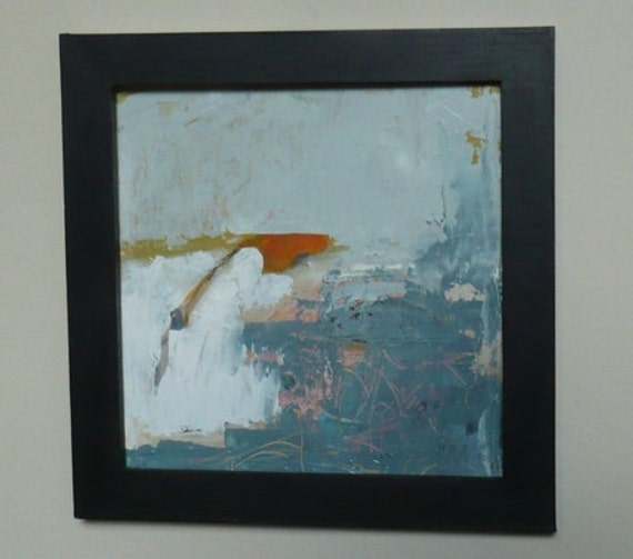 abstract art small original oil painting on wood