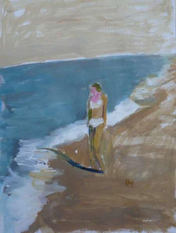 original acrylic sketch figurative beach painting