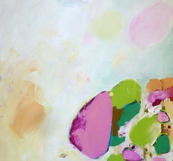 large original oil painting abstract painting pink green white art