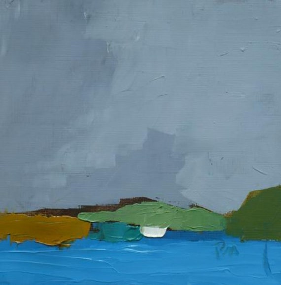 original abstract oil landscape painting water