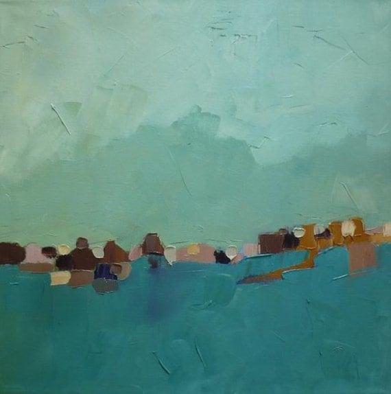 abstract landscape oil painting turquoise green blue