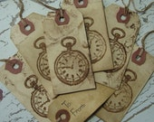 Vintage Pocket Watch Grungy Gift Tags - ZNE