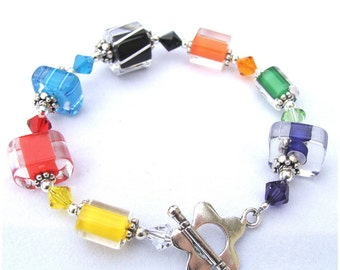 Bright Colors Cane Glass Bracelet