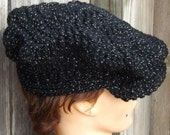 Crochet Hat Womens Hat, Crochet Newsboy Hat, Black Sparkle Hat, Black Hat