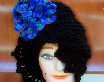 Black Crochet Hat Womens Hat, Crochet Flower, Cloche Hat with Flower Black Hat, Blue Flower, Black Hat, LAUREN Cloche Hat, Formal Hat