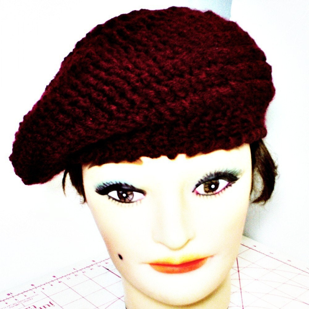 andrea crochet beret hat ribbed in aubergine by