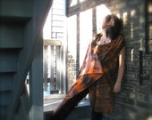 Organic Fire Wrap Cape Tie Dye Oranges Blacks