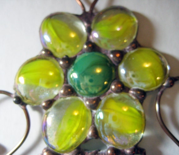 Stained Glass Yellow & Green Flower Windchime