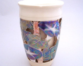 Morning Glory Double Wall Vase One of a Kind