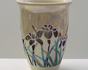 Double Wall Ceramic Vase, Wheel Thrown, Iris,  OOAK