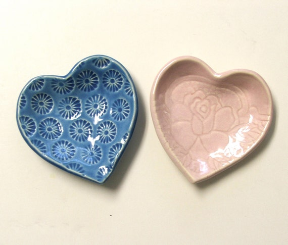 Hand Built  Pretty Little Lacy Heart Dishes, Set of Two