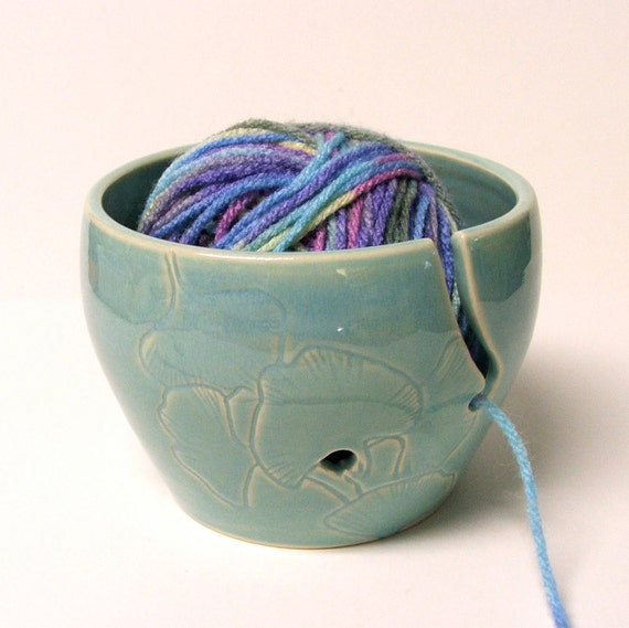 Knitting Yarn Holder : Yarn bowl knitting holder crochet by potterybysumiko