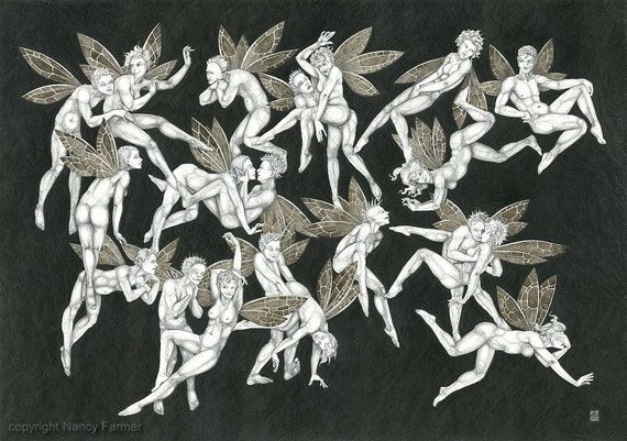 Frolicking Fairies - the not-quite-so-rude fairy art print.  (mature / adult)