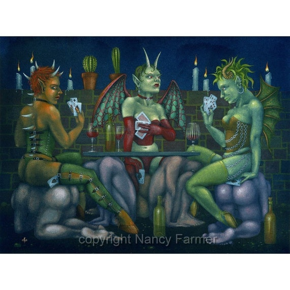 Five Aces - cheating at cards in Hell - art print
