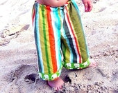 ANKLE BITERS - Cabana Striped with Green Elephants - Baby or Toddler Lounge Pants - As Featured on Cuteable