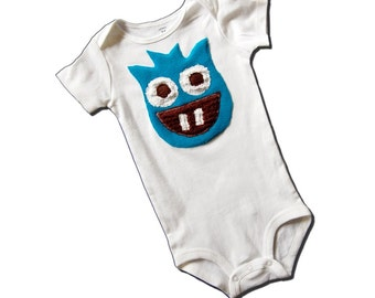 MONSTER BODYSUIT - Vasilis the Monster - One Piece - For Baby Boy - Baby Shower Gift - Also Available in Long Sleves - Or Toddler Tee - Blue