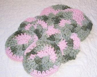 Pink Camouflage  Crochet Scrubbie Gift Set