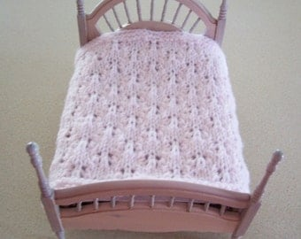Miniature Blanket Hand Knit  Pale Pink Snow Flakes Miniature Doll Blanket