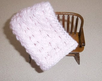 Blanket, Light/Pale Pink Miniature Doll House Blanket/Afghan - One Twelfth Scale