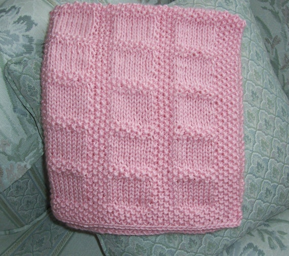 Knitted Car Seat Blanket Pattern : Hand Knit Soft Pink Car Seat Blanket