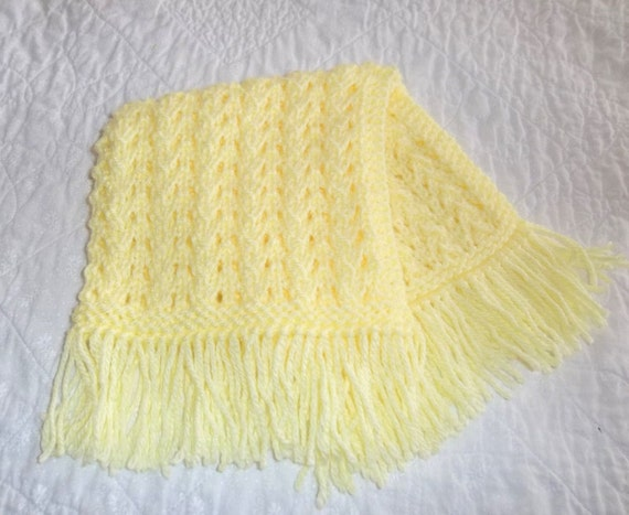 Lemon Yellow Knit Doll Blanket Throw Afghan With Fringe