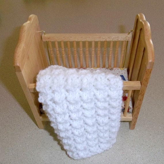 Knit White Miniature  Blanket 1/12 Scale Doll House